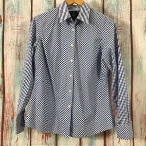 💎 Savvy Gingham Dress Shirt Blue and White 16